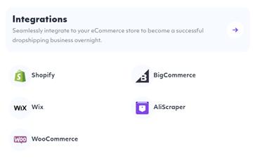 Spocket - integratie met Shopify, Wix, WooCommerce, BigCommerce en AliScraper.